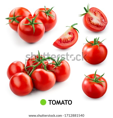 Tomatoes on white background. Tomato isolated. Tomatoes set. Whole, half, cut, sliced tomatoes. Tomato on branch. #1712881540