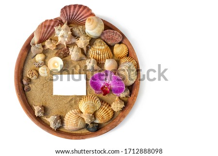 Round summer beach spa vacation still life composition flat lay sand, shells, candle, corals, stone, orchid, clean business card invitation postcard message place for text on white background isolated