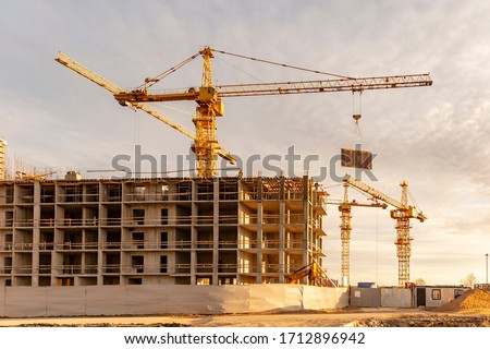 Construction site on the outskirts of St. Petersburg Royalty-Free Stock Photo #1712896942