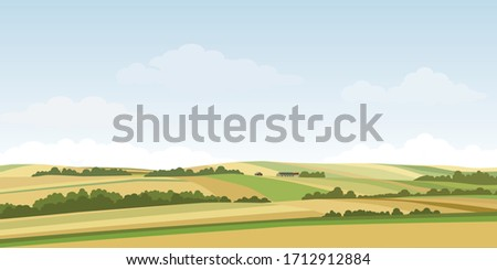 Green hill countryside landscape. Vector illustration of panorama field landscape and cloud sky. Royalty-Free Stock Photo #1712912884