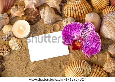 Beach vacation spa resort frame, white empty greeting card business banner background with place for text border decoration sand, shells, candle, orchid, coral, stones, natural pumice. Top view