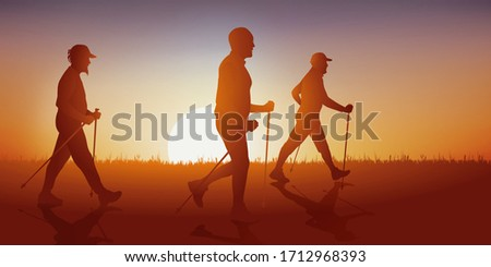 Concept of hiking with a group of hikers Nordic walking on a country lane. #1712968393