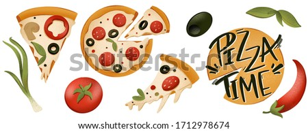 Seth a piece of pizza, tomato, olives, pepper, lettering pizza time on a round digital art texture emblem. Print for cards, banners, posters, menus, restaurants, cuisine, fabrics, stickers.