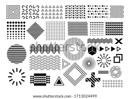 Vector memphis, set of abstract geometric shapes, ornamental shapes, waves, seamless patterns, geometric shapes, design elements, in black color isolated on white background #1713024499