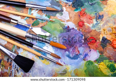 paint brushes on a palette  #171309098