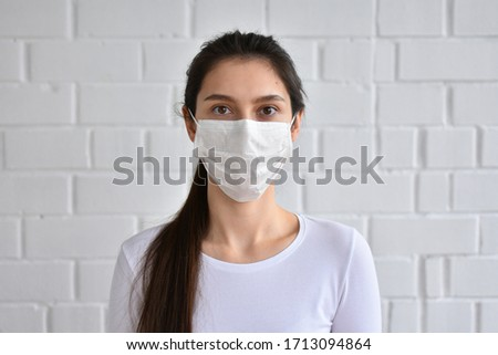 girl in medical mask and gloves #1713094864