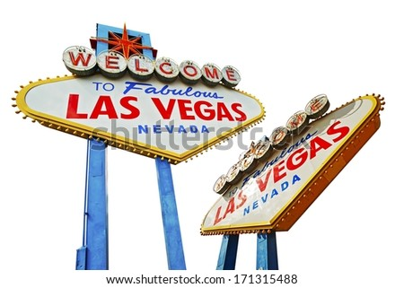 Las Vegas Signs Isolated on White. Famous Las Vegas Entrance Sign. Two Different Angles. #171315488