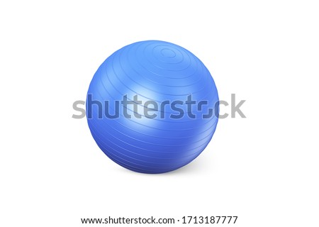 Blue fitness ball isolated on white background. Pilates Blue Ball render. Fitball Model Royalty-Free Stock Photo #1713187777