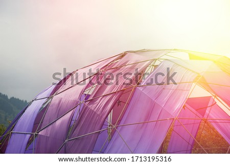 Mobile dome decoration design. A Geodesic Dome Tents. A hemispherical thin-shell structure lattice-shell based on a geodesic polyhedron. #1713195316