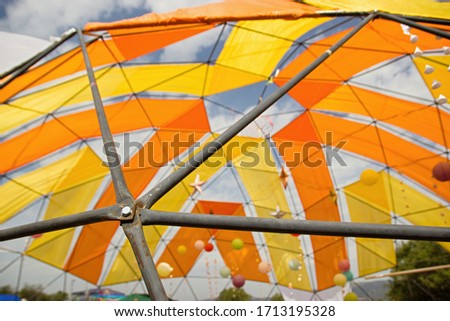 Mobile dome decoration design. A Geodesic Dome Tents. A hemispherical thin-shell structure lattice-shell based on a geodesic polyhedron. #1713195328