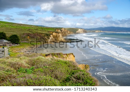 Scenic views of the ocean and coast with elephant seals