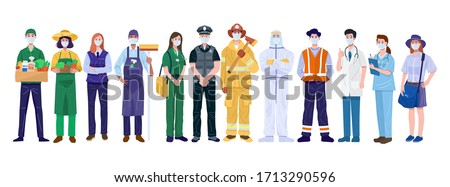Thank You Essential Workers Concept. Various occupations people wearing face masks. Vector #1713290596