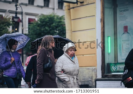 St Petersburg, Russia - September 21, 2019: People on the Streets of Nevsky Prospect in Saint Petersburg City in Russia #1713301951