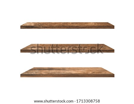 Set of  wood shelves isolated on white background with clipping path for design. Used for display or montage your products Royalty-Free Stock Photo #1713308758
