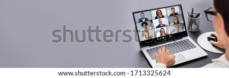 Work From Home Online Video Meeting Conference And Interview Royalty-Free Stock Photo #1713325624
