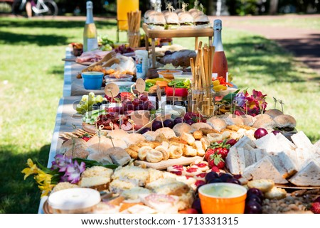 Grazing table in the park Royalty-Free Stock Photo #1713331315