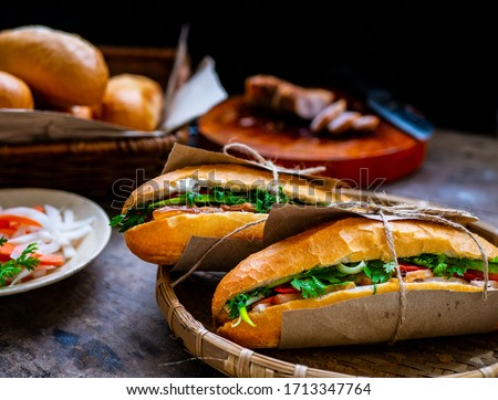 Banh mi - Vietnamese sandwich - Vietnamese food Royalty-Free Stock Photo #1713347764