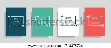 Quote frames blank templates set. Text in brackets, citation empty speech bubbles. Text box isolated on color background. Vector illustration  #1713375736