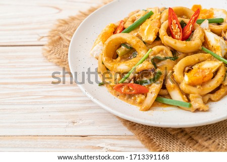 stir fried squid or octopus with salt egg - asian food style
