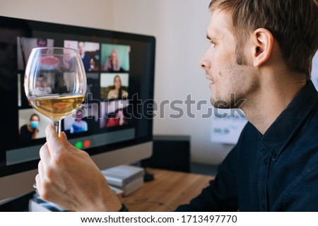 Video conference party online meeting with friends and family. Birthday party in facetime call. Parties during coronavirus quarantine Long Distance Celebration. Video conferencing happy hour #1713497770