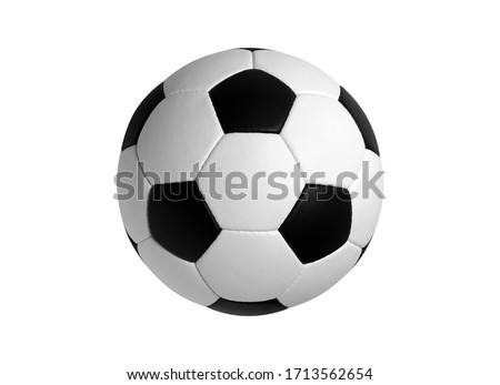 Soccer Ball Isolated on White Background. Classic soccerball, Football, Sport, Textured. High Quality. Royalty-Free Stock Photo #1713562654