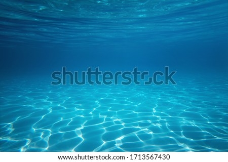 Underwater empty swimming pool background with copy space #1713567430