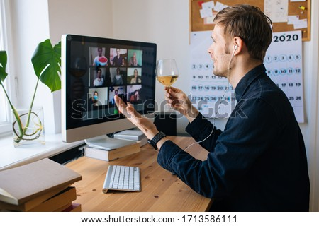 Video conference party online meeting with friends and family. Birthday party in facetime call. Parties during coronavirus quarantine Long Distance Celebration. Video conferencing happy hour #1713586111
