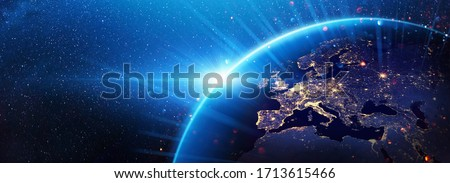 Planet Earth Europe from the Space at Night. Elements of this Image Furnished by NASA Royalty-Free Stock Photo #1713615466