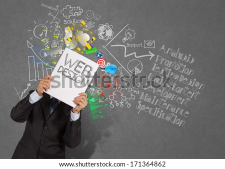 businessman hand show book of web design and diagram icons on texture background as concept