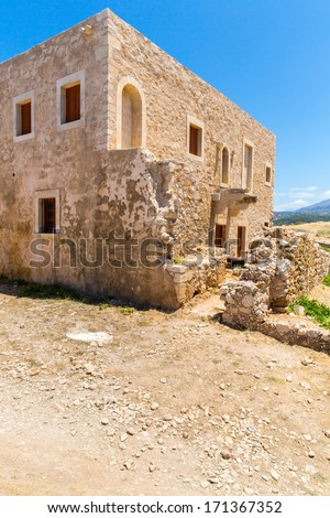 Ruins of old town in Rethymno, Crete, Greece. It largest castle in central Europe #171367352