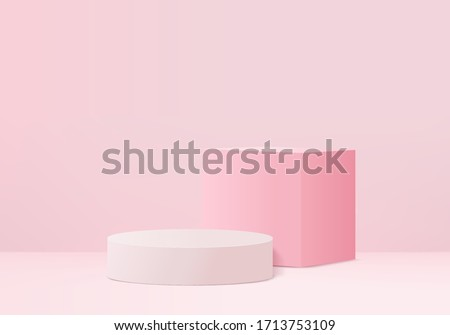 3D pink pastel valentine product Podium on background vector platform. minimal geometry concept. Pink studio 3d stand platform. Business marketing presentation stage. 3D pink stage valentine render #1713753109
