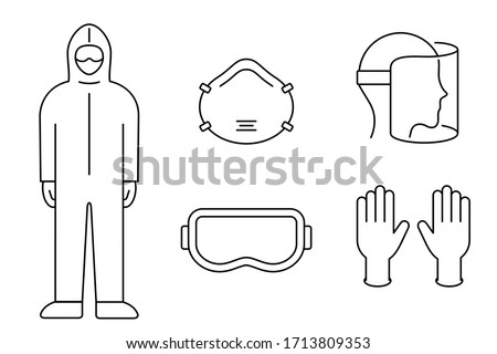 Corona virus prevention equipment line icon set. Protective suit, mask, gloves, goggles, face shield. Black outline on white background. PPE personal protection. Precaution measures. Vector, clip art. Royalty-Free Stock Photo #1713809353