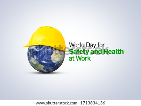 World Day for Safety and Health at Work concept.The planet Earth and the helmet symbol of safety and health at work place.  Royalty-Free Stock Photo #1713834136