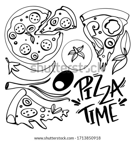 Seth pizza, slice and round, tomato, pepper, olive, onion outline doodle digital art. Print for cards, banners, posters, menus, restaurants, cuisine, fabrics, stickers, children's and adult coloring.