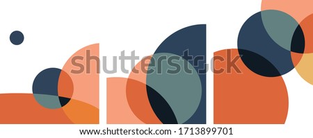 abstract geometric art circles overlapping minimalist. vector set #1713899701
