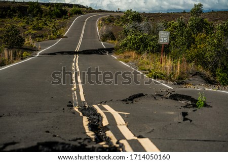 Earthquake damaged road in Hawaii Volcanoes National Park from eruption. #1714050160
