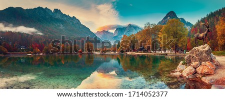 Jasna lake with beautiful reflections of the mountains. Triglav National Park, Slovenia #1714052377