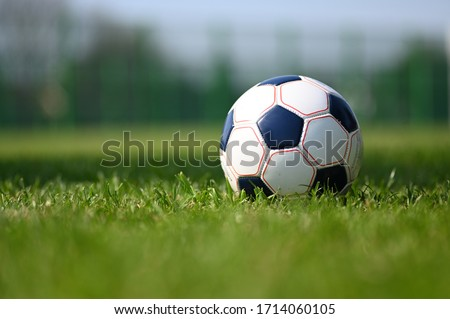 Soccer ball on the green grass Royalty-Free Stock Photo #1714060105