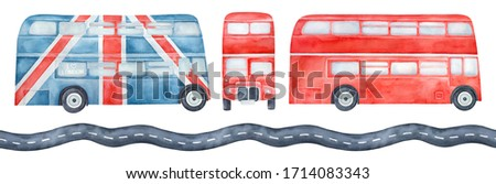 Water color illustration pack of various double-decker buses, side and front view and seamless pattern of highway road. Hand drawn watercolour painting, cutout clip art elements for creative design.