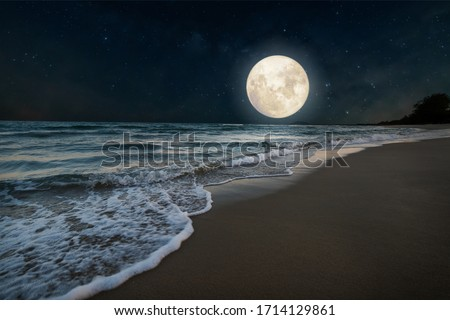 Beautiful nature fantasy - romantic beach and full moon with star. Retro style with vintage color tone. Summer season, honeymoon in night skies background concept. #1714129861
