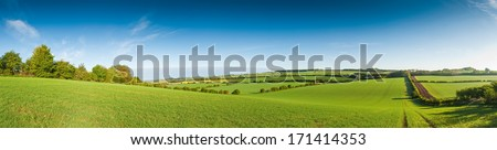 Idyllic rural view of pretty farmland and healthy livestock, in the beautiful surroundings of the Cotswolds, England, UK. #171414353