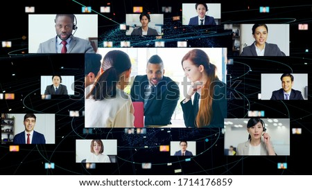 Global communication network concept. Video conference. Telemeeting. #1714176859