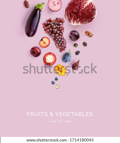 Creative layout made of mangosteen, onion, grapes, plum, blueberry, blackberry, dates, eggplant  on the purple background. Flat lay. Food concept. Macro  concept. #1714180045