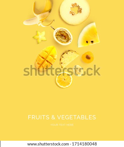 Creative layout made of  lemon, melon, passionfruit, banana, passion fruit, mango, plum, pineapple on the yellow background. Flat lay. Food concept. Macro  concept. #1714180048