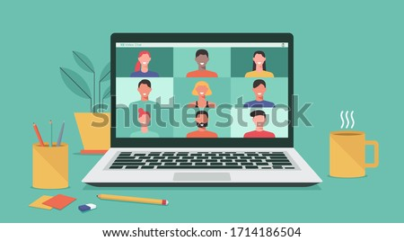 people connecting together, learning or meeting online with teleconference, video conference remote working on laptop computer, work from home and work from anywhere concept, flat vector illustration #1714186504