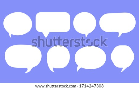 Set of speak bubble text, chatting box, message box outline cartoon vector illustration design. Balloon doodle style of thinking sign symbol. #1714247308