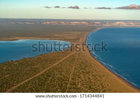 Mogote Peninsula La Paz Baja California Sur Mexico aerial view panorama #1714344841