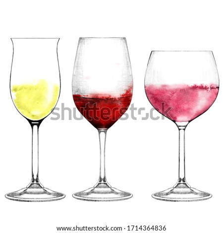 Realistic illustration of wineglasses. Glass of white, red, rose wine isolated on white. Hand drawn alcohol beverage. Drinks for bar and restaurant menu, recipes, flyers.