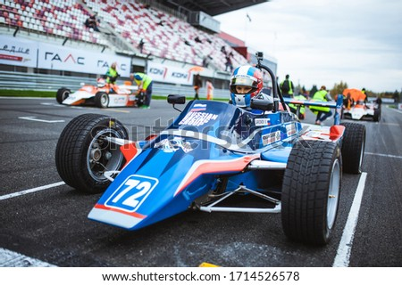 Moscow, Russian Federation - October 2, 2016: old racing car before the start of race, during ClassicGP at MoscowRaceway #1714526578