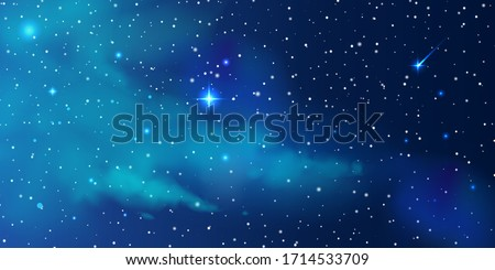 Night starry sky, a beautiful space with a nebula. Abstract background with stars, space. Vector illustration for banner, brochure, web design  Royalty-Free Stock Photo #1714533709